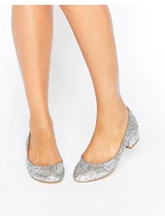 London Rebel Block Heel Glitter Ballerina - Silver