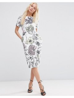 ASOS Wiggle Dress in Pale Wallpaper Print - White