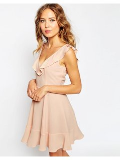 ASOS Skater Dress With Frill Detail - Pink