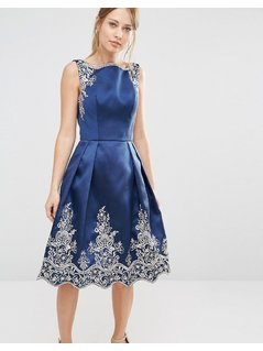 Chi Chi London Embroided Midi Dress with Premium Metallic Lace Hem - Navy