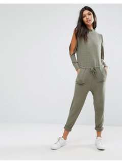 River Island Jersey Cold Shoulder Jumpsuit - Green