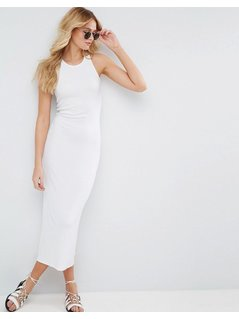 ASOS Bodycon Ribbed Maxi Vest Dress with Racer Back - White