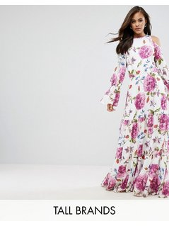 Y.A.S Studio Tall Cold Shoulder Flower Printed Maxi Dress - Multi