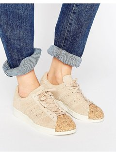 adidas Originals Nude Superstar 80S Trainers With Cork Toe Cap - Pink