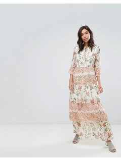 Vero Moda Maxi Floral Ruffle Dress - Multi