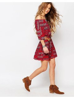 Hollister Co-Ord Skirt With Print - Red