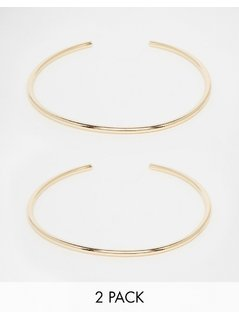 ASOS Pack of 2 Fine Gold Arm Cuffs - Gold