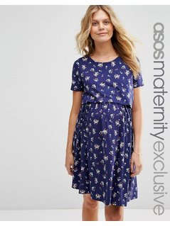 ASOS Maternity NURSING Dress with Double Layer in Floral - Multi