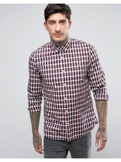 Fred Perry Small Check Shirt in Red - Red