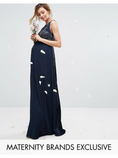 Maya Maternity Embellished Bodice Maxi Dress With Pleated Skirt - Navy