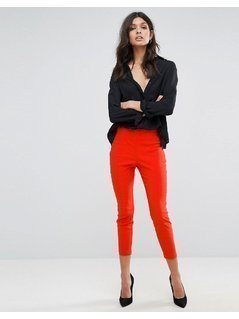 ASOS High Waisted Skinny Crop Trousers - Orange