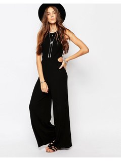 Pull&Bear Jumpsuit With Cut Out Sides - Black