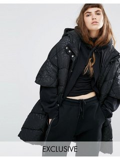 Puffa Oversized Cape Jacket With Padded Collar And Hood In Tonal Leopard - Black