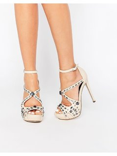 Little Mistress Rogers Embellished Cross Strap Platform Heeled Sandals - Beige