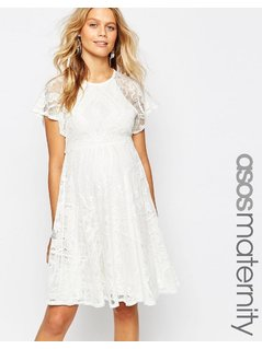 ASOS Maternity Flutter Sleeve Lace Skater Dress - Cream