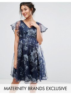 Chi Chi London Maternity Floral Dress With Ruffle Sleeve - Navy
