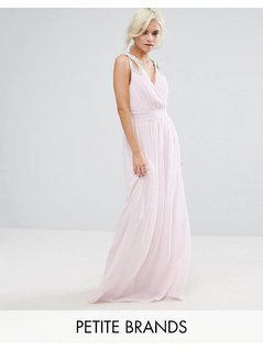 TFNC Petite Wedding Wrap Front Maxi Dress With Embellishment - Pink