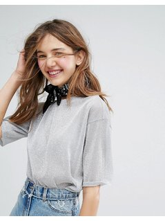 Monki Mesh Metallic Boxy Top - Silver