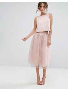Little Mistress Faux Pearl Embellished Tulle Midi Skirt - Pink
