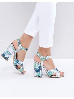 New Look Tropical Tapestry Block Heeled Sandal - Green