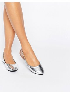 Lost Ink Silver Ballet Flats - Silver