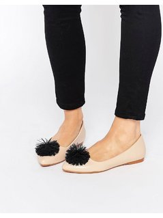 Lost Ink July Pom Pom Point Flat Shoes - Multi