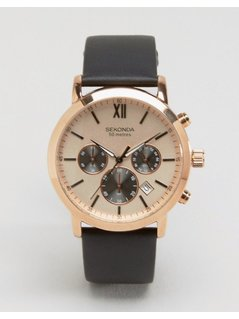 Sekonda Chronograph Brown Leather Watch With Gold Dial Exclusive To ASOS - Brown