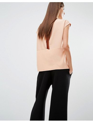 Selected Irina Short Sleeve Top with Wrap Back Opening - Pink