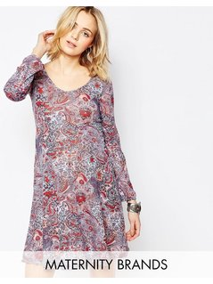 Mamalicious Maternity Dress With Long Sleeves In Paisley Print - Multi