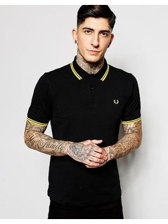 Fred Perry Polo with Twin Tipped in Black - Black