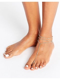 ASOS Simple Ball Foot Chain Anklet - Gold