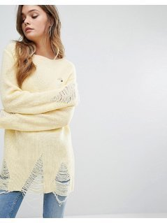 Boohoo Distressed Slashed Neck Jumper - Yellow