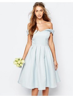 Chi Chi London Midi Prom Dress with Full Skirt and Bardot Neck - Blue