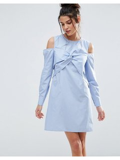 ASOS Cold Shoulder Origami Detail Cotton Shirt Dress - Blue