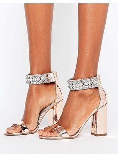 ASOS HOTSTEPPA Embellished Heeled Sandals - Gold