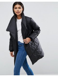ASOS Puffer Jacket with Waterfall Front - Black
