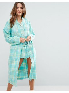Chelsea Peers Woven Checked Robe - Green