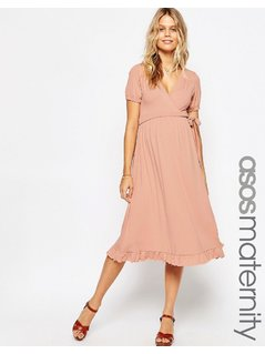 ASOS Maternity Midi Wrap Tea Dress - Pink