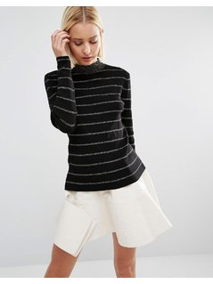 Weekday Stripe Knitted Jumper - Gold