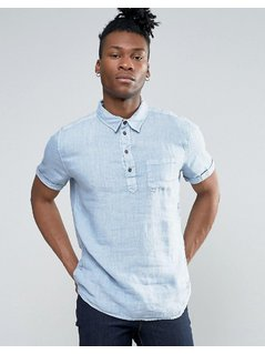 Pepe Jeans Half Placket Short Sleeve Shirt - Blue