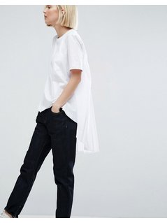 ASOS WHITE Pocket Detail T-Shirt With Pleat Back - White