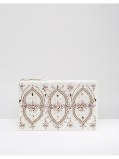 True Decadence Silver&Mauve Beaded Zip Top Clutch - Silver