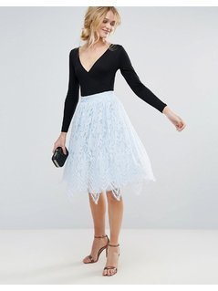 Chi Chi London Midi Lace Skirt - Blue