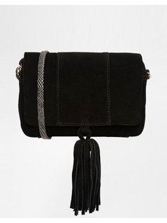 Normal asos suede cross body bag with snake strap black