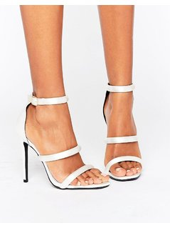 Missguided Multi Strap Satin Heeled Sandals - White