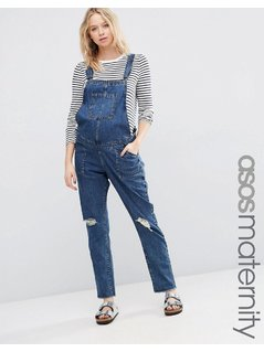 ASOS MATERNITY Denim Dungaree With Rips - Blue