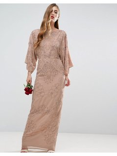 ASOS WEDDING Embellished Kimono Maxi Dress - Beige