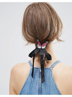ASOS Butterfly Bow Badge Hair Tie - Black