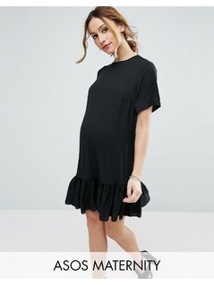 ASOS Maternity T-Shirt Dress With Ruffle Hem - Black