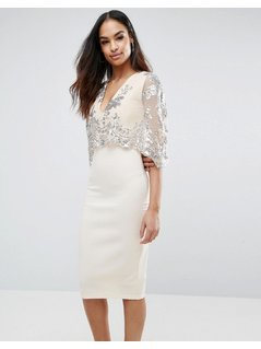 Club L Sequins Cape Overlay Midi Dress - Stone